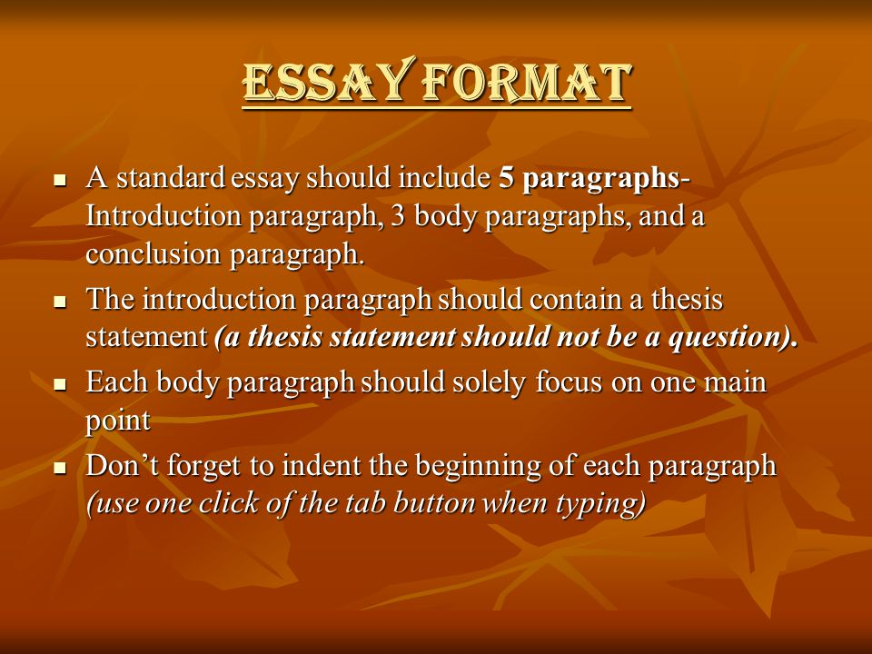 standard indentation for essays