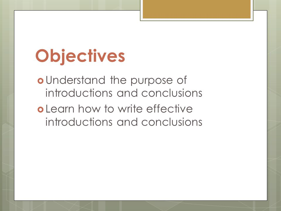 Objectives section of a thesis