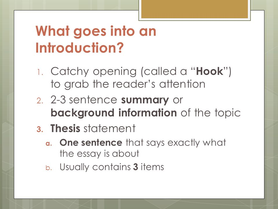 where does the thesis go in the intro If you find out at this stage that your thesis has not tackled an issue that you raised in the introduction, you should go back to the introduction and delete the reference to that issue an elegant way to structure the text is to use the same textual figure or case in the beginning as well as in the end.