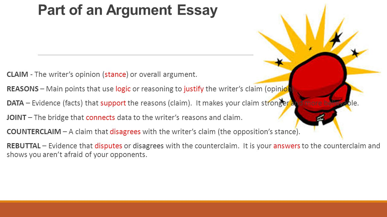 writing an argumentative paragraph ppt video online  part of an argument essay