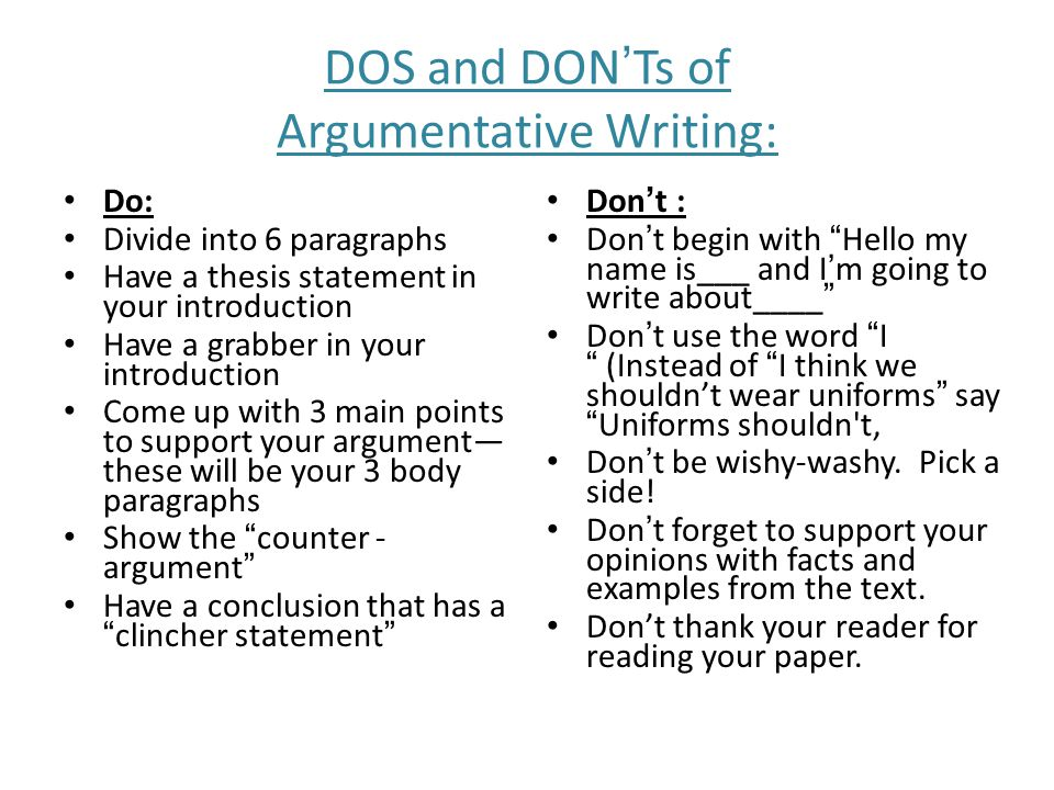 argumentative writing ppt  10 dos and don ts