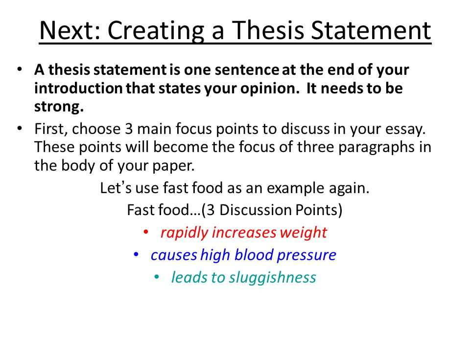 thesis one sentence