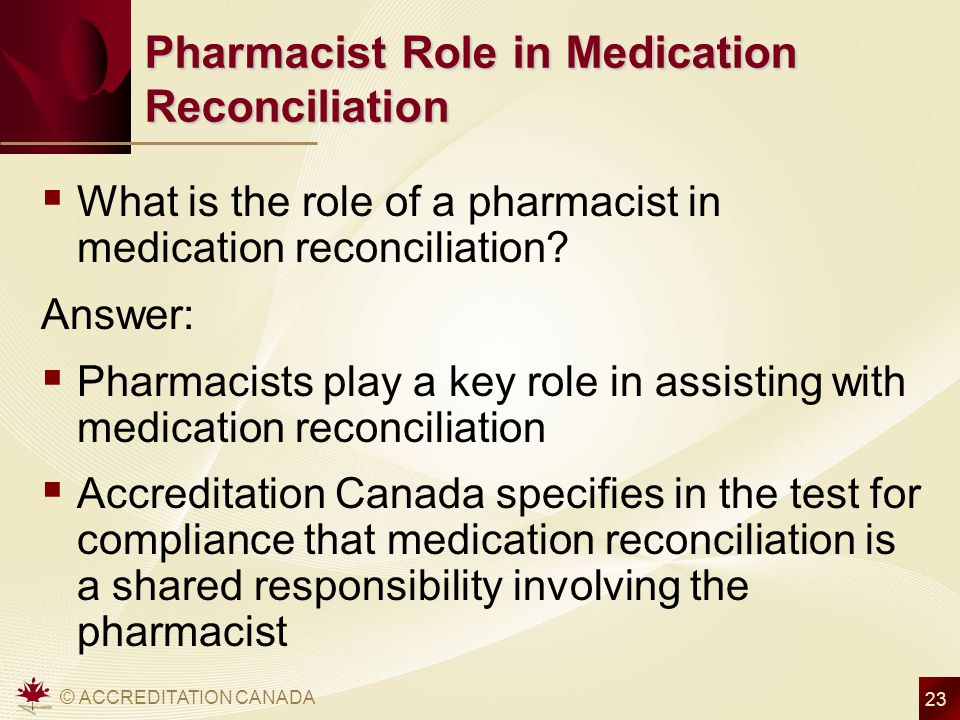 Pharmacist Role in Medication Reconciliation