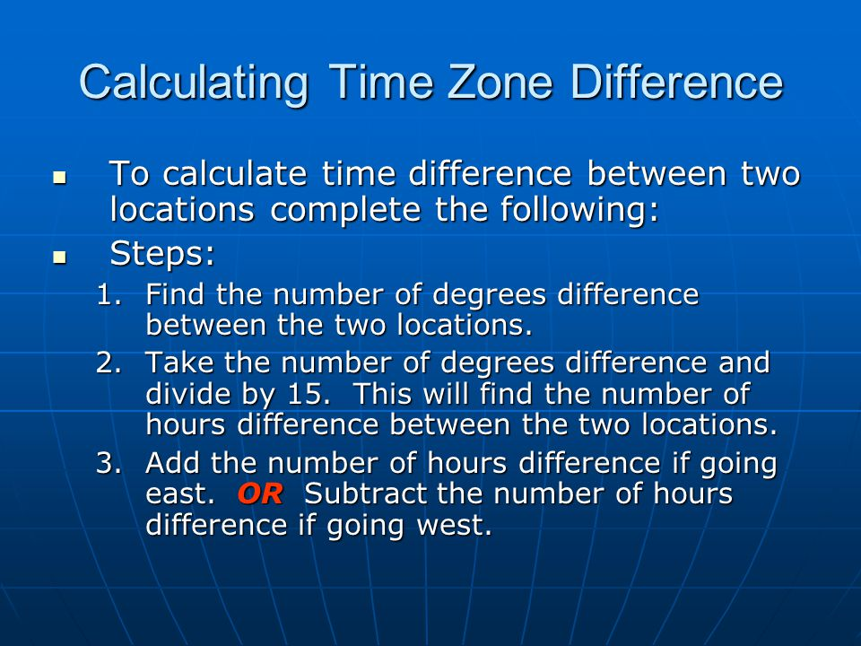 Calculating Time Zone Difference