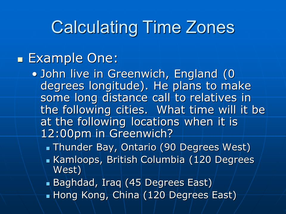 Calculating Time Zones