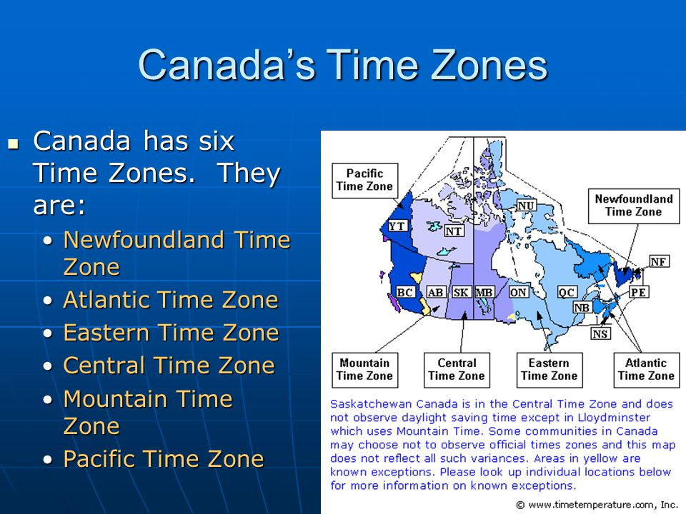 Canada's Time Zones Canada has six Time Zones. They are: