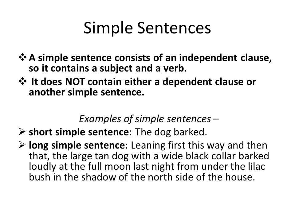 simple sentence A simple sentence contains one independent clause and no subordinate clauses.
