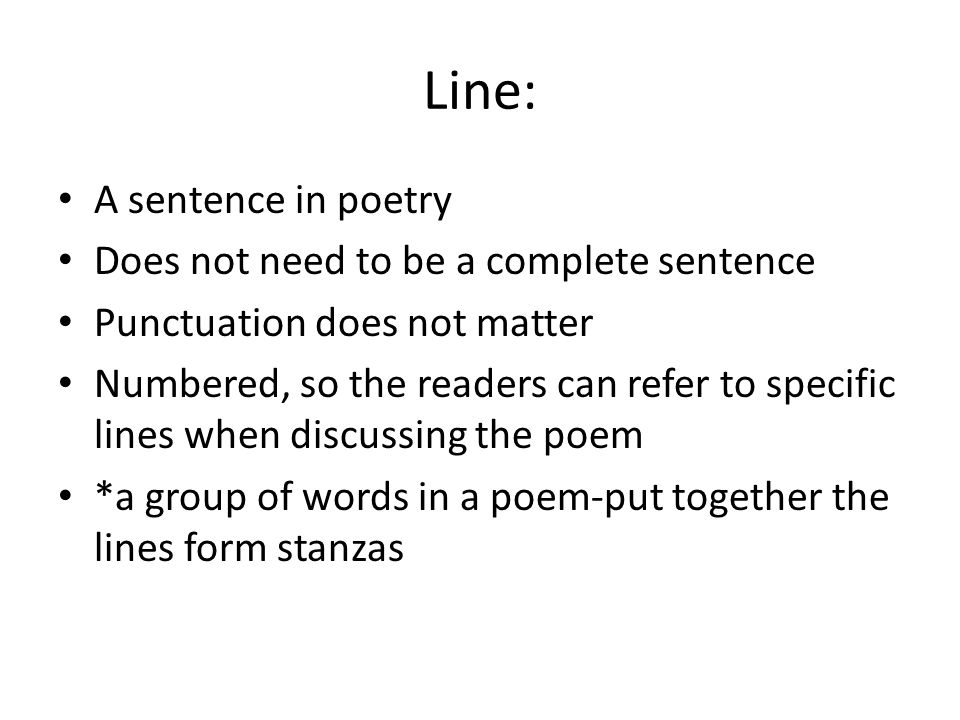 Poetry Terms Line/Stanza/Speaker. - ppt download