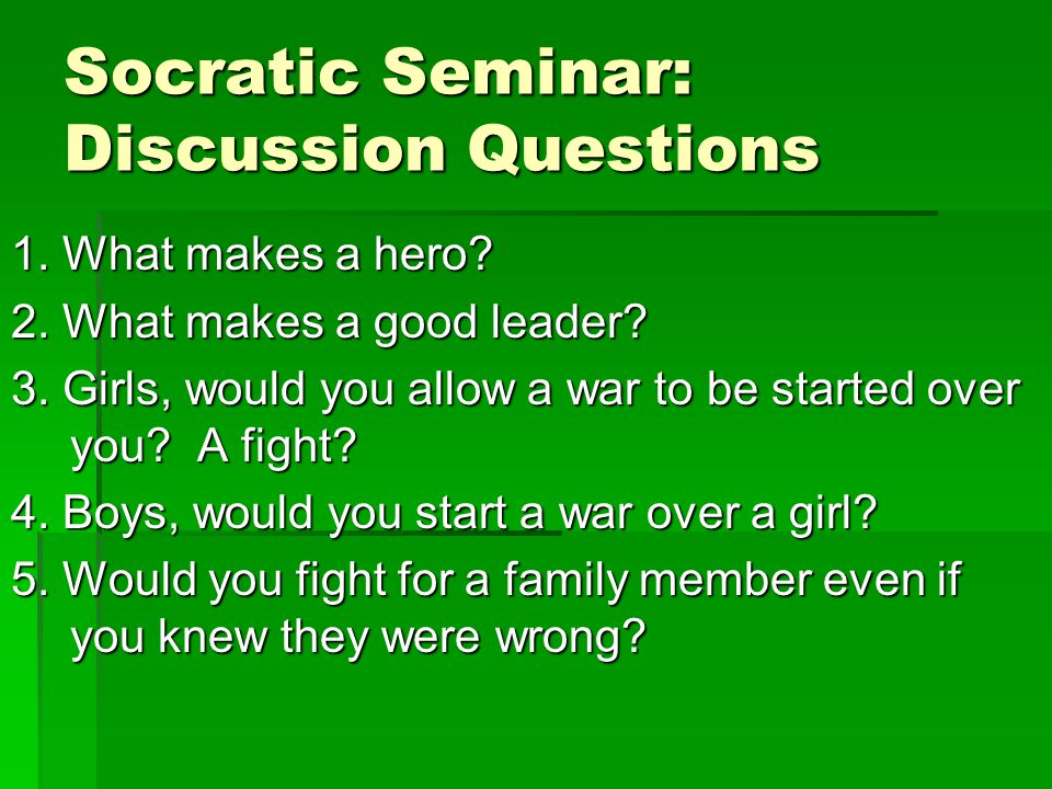 socratic seminar questions 1 Socratic seminar guidelines before the socratic seminar read and prepare your text before the seminar using the critical reading process 1 make sure you understand your purpose for reading.