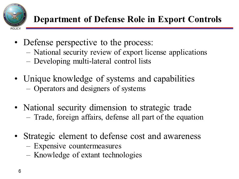 Defense technology security administration ppt video - Bureau of export administration ...