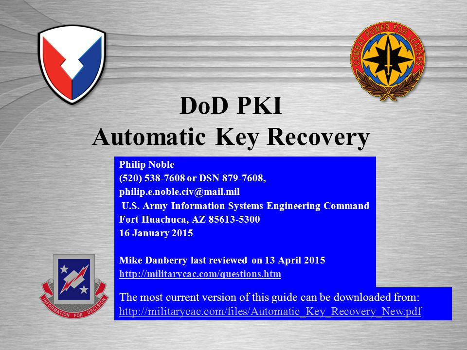Dod Pki Automatic Key Recovery Ppt Video Online Download