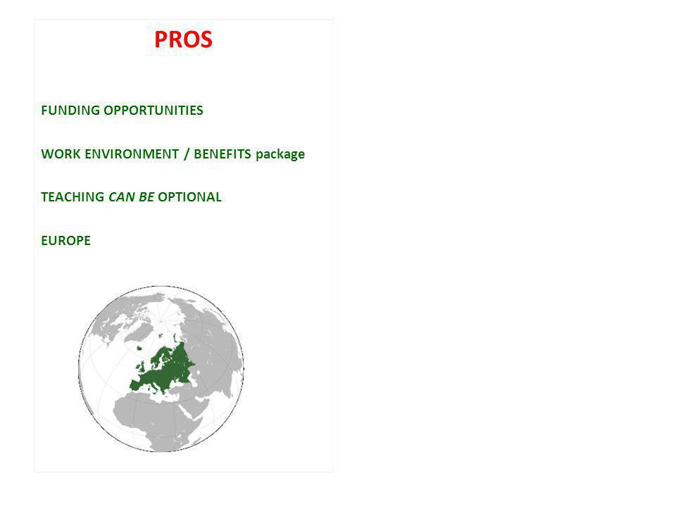 PROS FUNDING OPPORTUNITIES WORK ENVIRONMENT / BENEFITS package