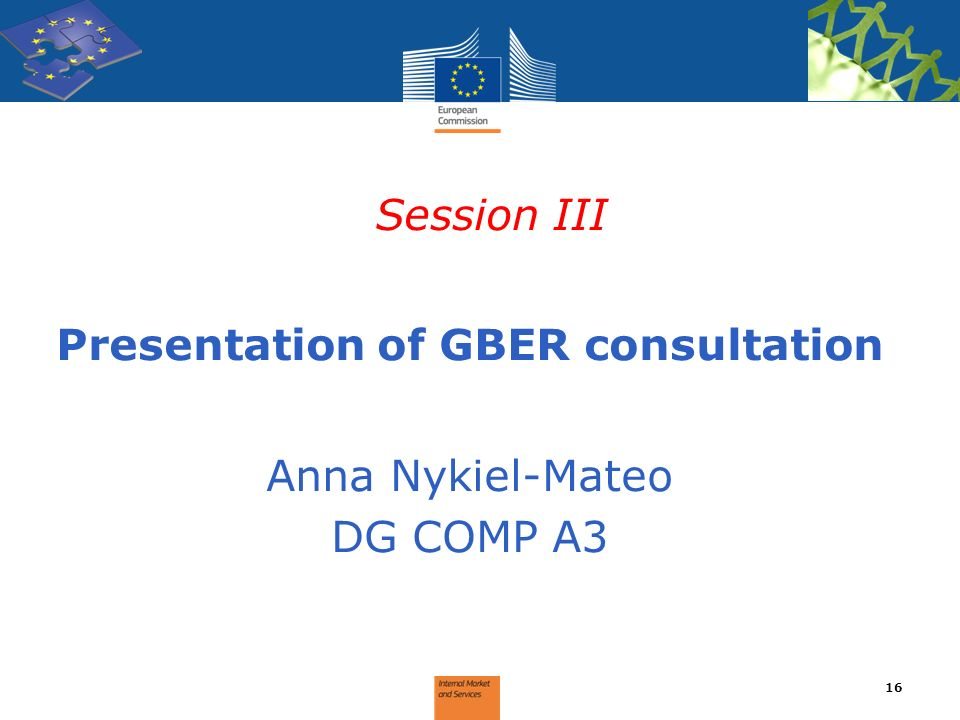 Presentation of GBER consultation