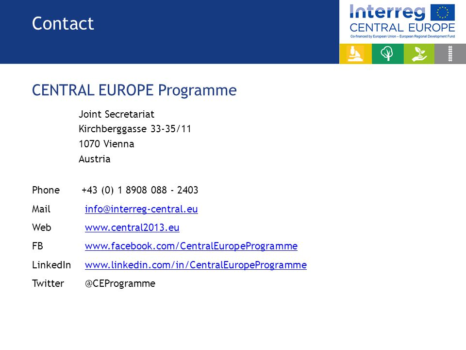 Contact CENTRAL EUROPE Programme Joint Secretariat