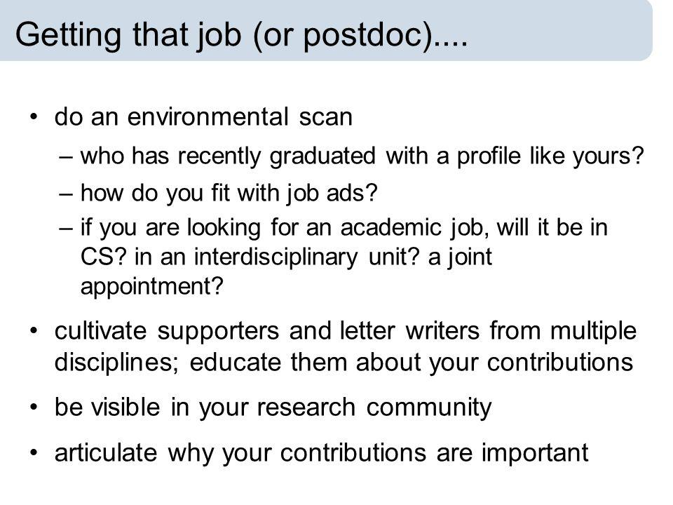 Getting that job (or postdoc)....