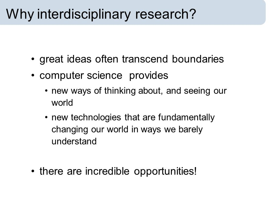 Why interdisciplinary research