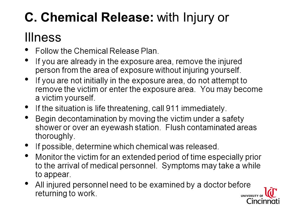 C. Chemical Release: with Injury or Illness