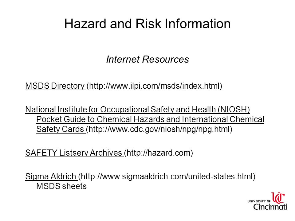 Hazard and Risk Information