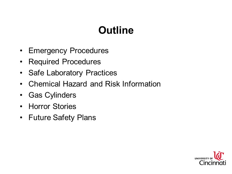 Outline Emergency Procedures Required Procedures