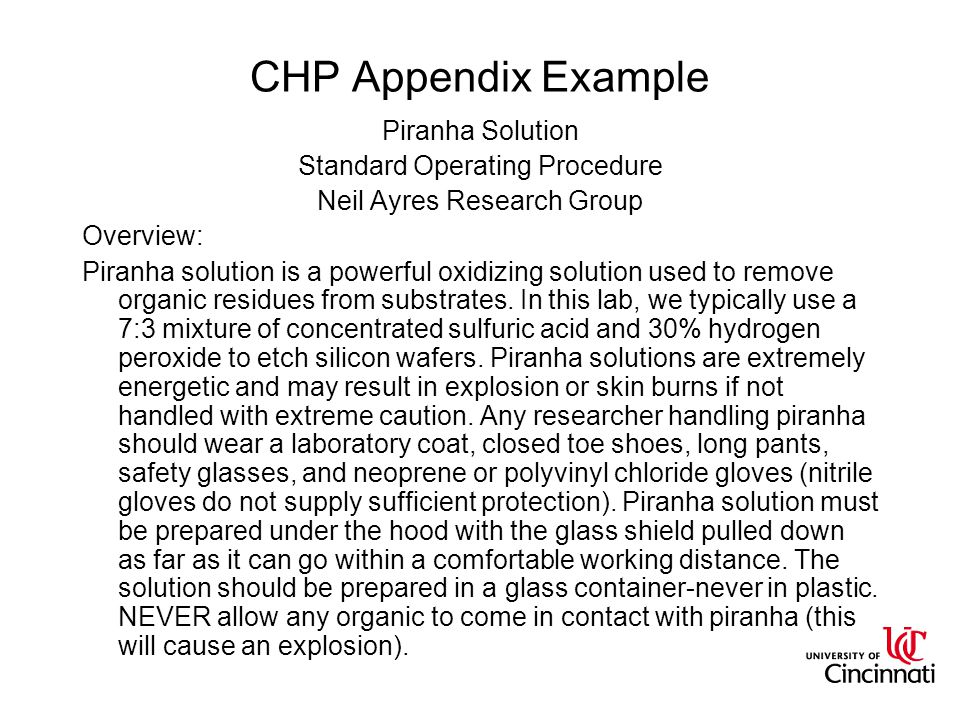 CHP Appendix Example Piranha Solution Standard Operating Procedure