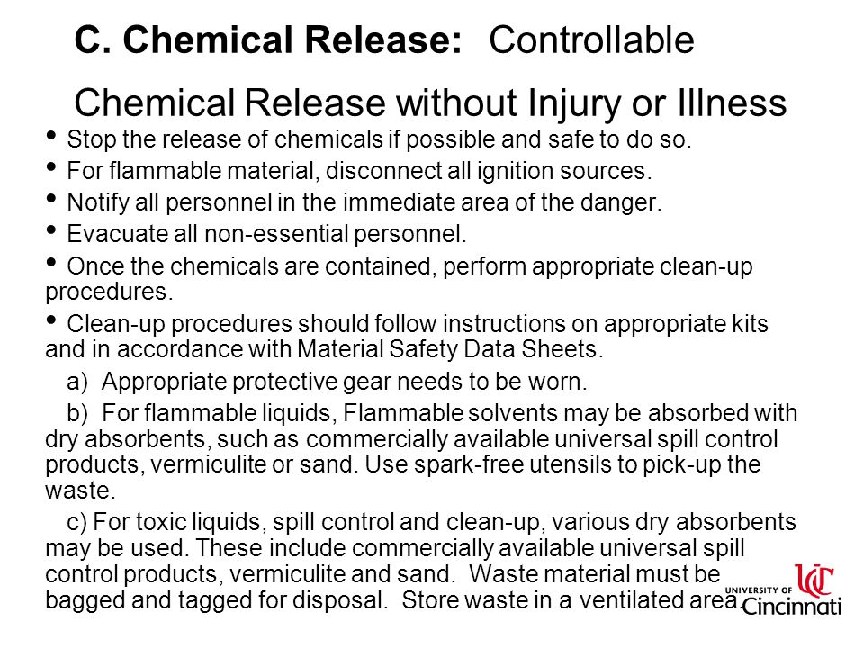 C. Chemical Release: Controllable Chemical Release without Injury or Illness