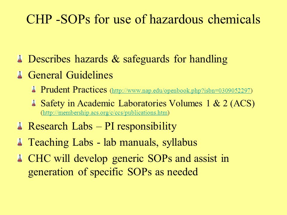CHP -SOPs for use of hazardous chemicals