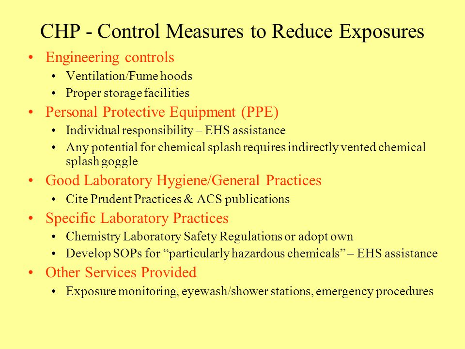 CHP - Control Measures to Reduce Exposures