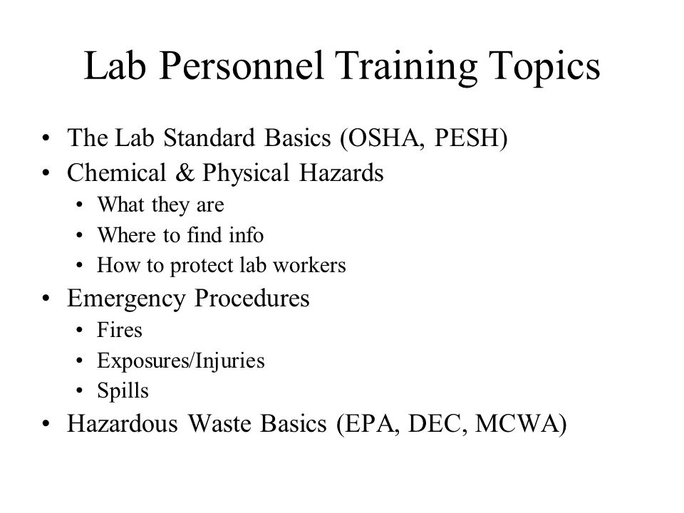 Lab Personnel Training Topics