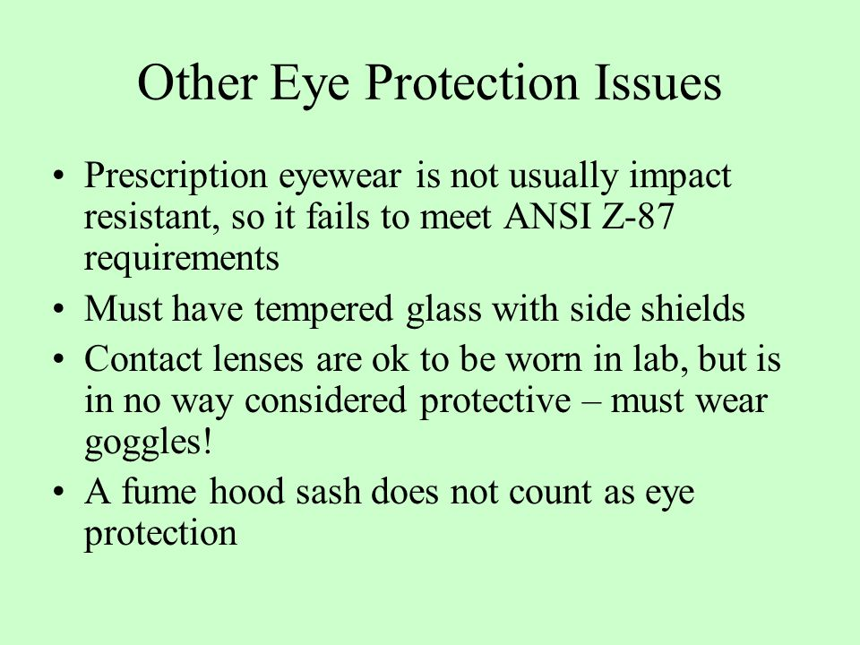 Other Eye Protection Issues