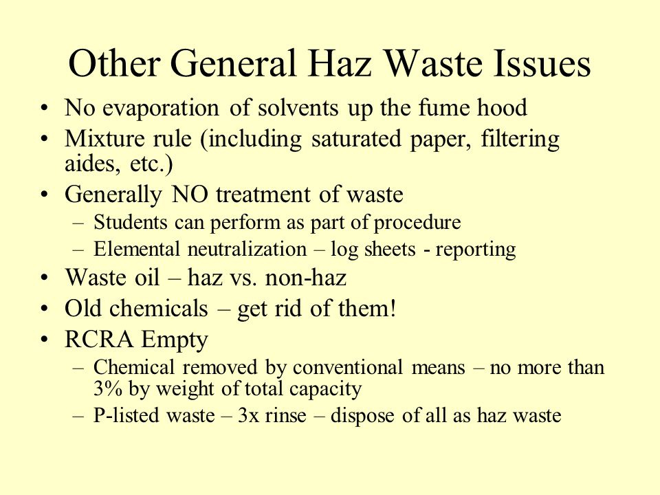 Other General Haz Waste Issues