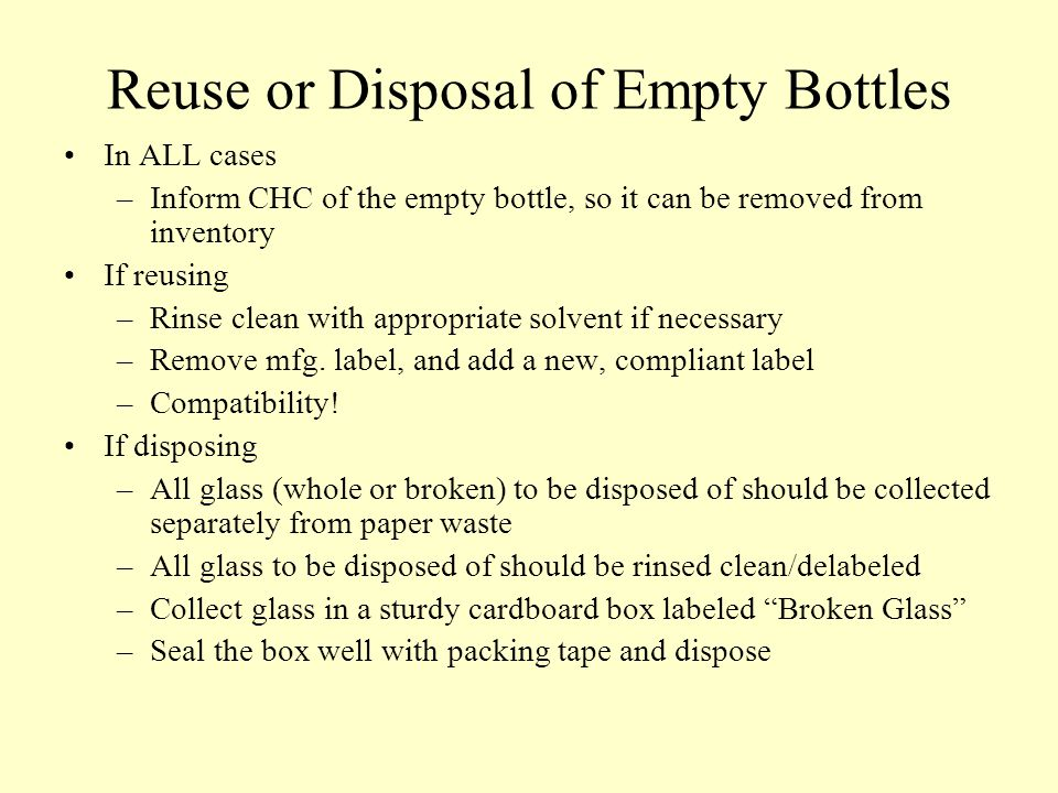 Reuse or Disposal of Empty Bottles