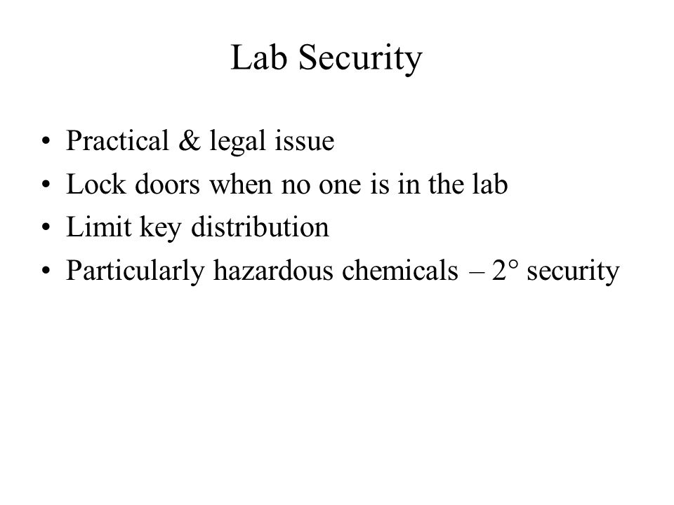 Lab Security Practical & legal issue