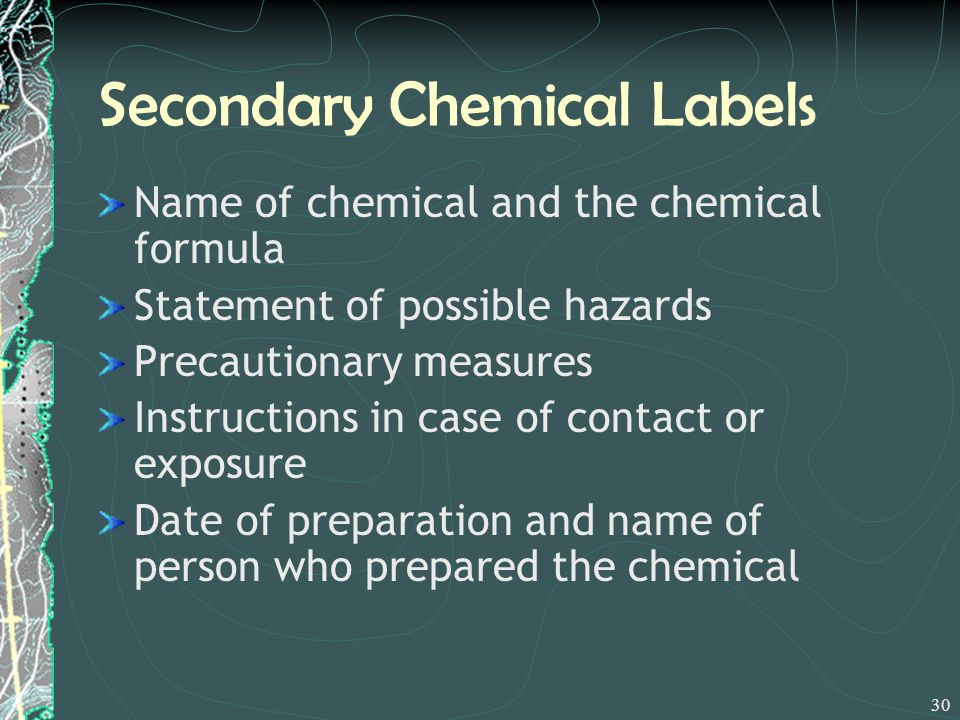 Secondary Chemical Labels