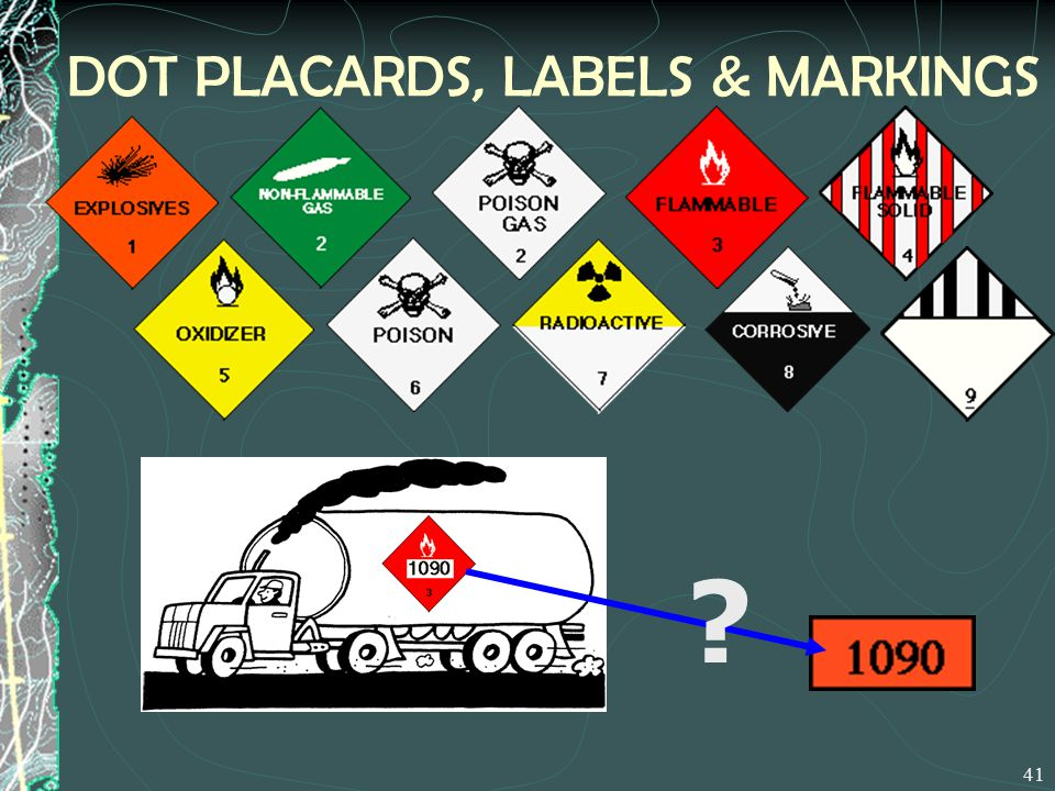 DOT PLACARDS, LABELS & MARKINGS