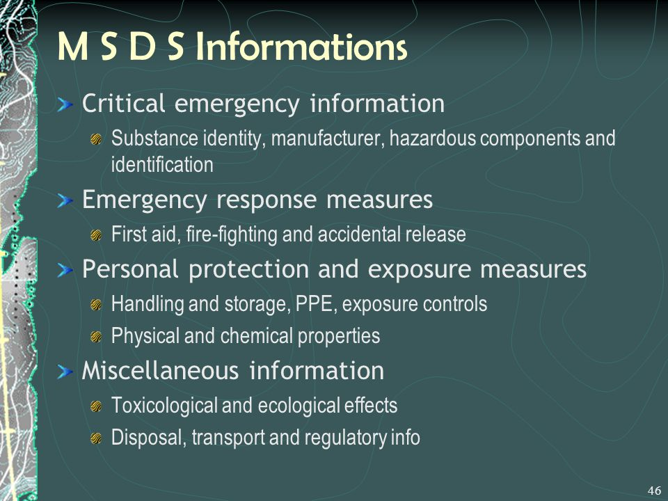 M S D S Informations Critical emergency information