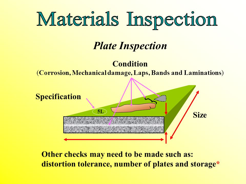 Condition (Corrosion, Mechanical damage, Laps, Bands and Laminations)