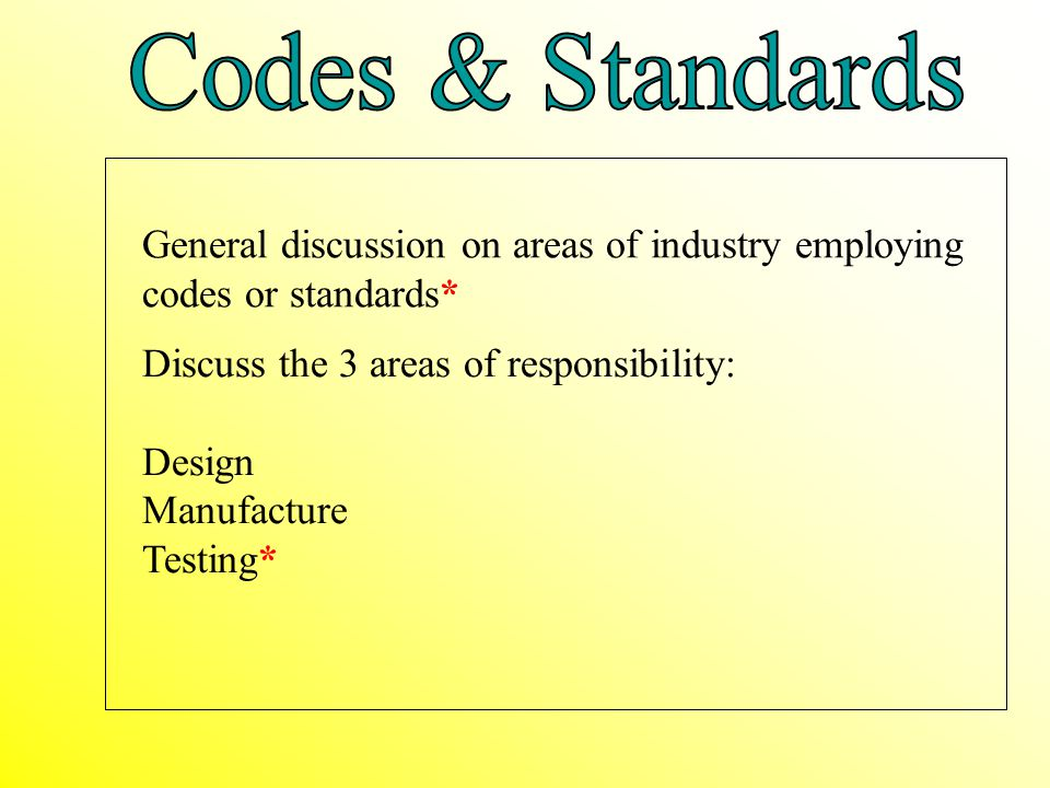 Codes & Standards General discussion on areas of industry employing codes or standards* Discuss the 3 areas of responsibility: