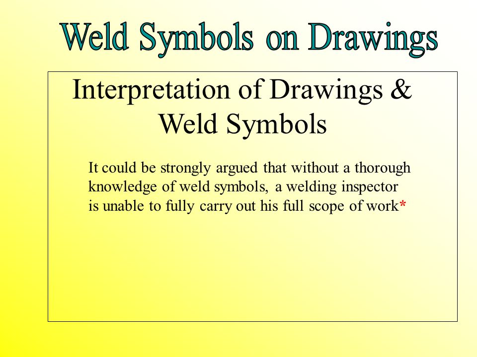 Interpretation of Drawings & Weld Symbols