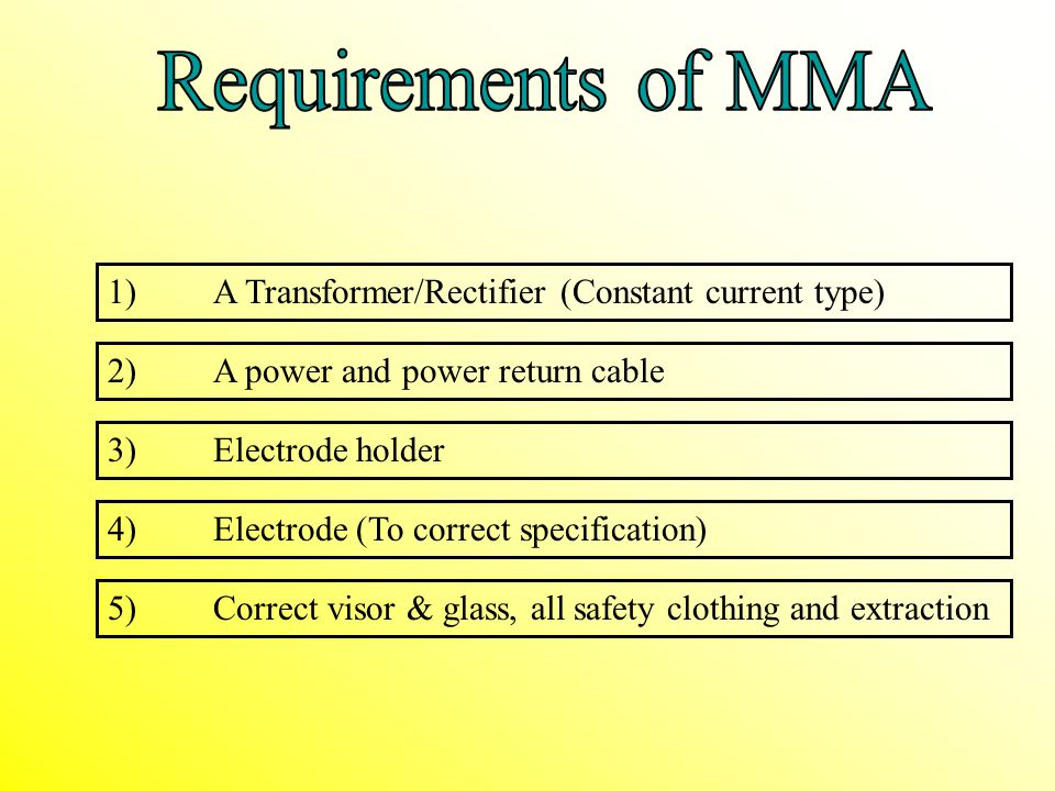 Requirements of MMA 1) A Transformer/Rectifier (Constant current type)