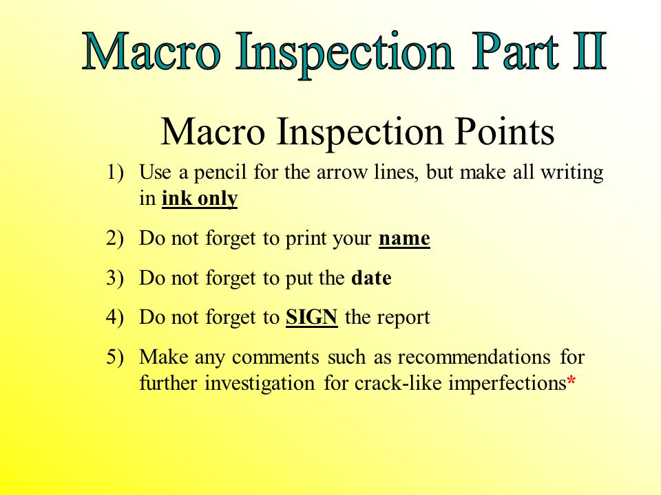 Macro Inspection Points