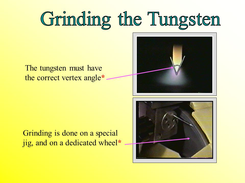 Grinding the Tungsten The tungsten must have the correct vertex angle*