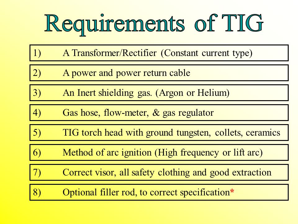 Requirements of TIG 1) A Transformer/Rectifier (Constant current type)