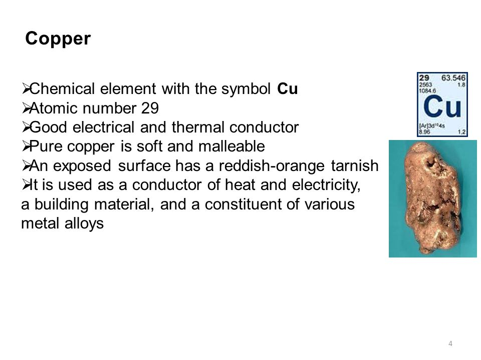 a study on the chemical element copper Copper and it's many alloys have played an important role in many civilizations, from the ancient egyptians, romans to modern day cultures around the world here, you will find a number of reference materials detailing the role that copper has played throughout human civilization for thousands of years.