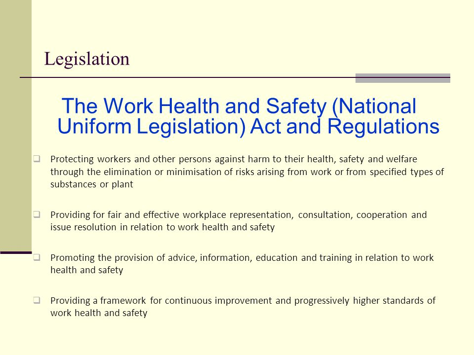 heath and safety legislation Regulations law and regulations consultation offices can help employers identify workplace hazards, comply with standards, and establish safety and health.