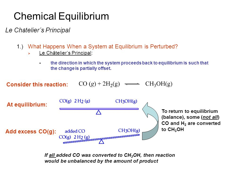 an introduction to the equilibrium in a chemical reaction An introduction to the use of equilibrium constants expressed in terms of concentrations.