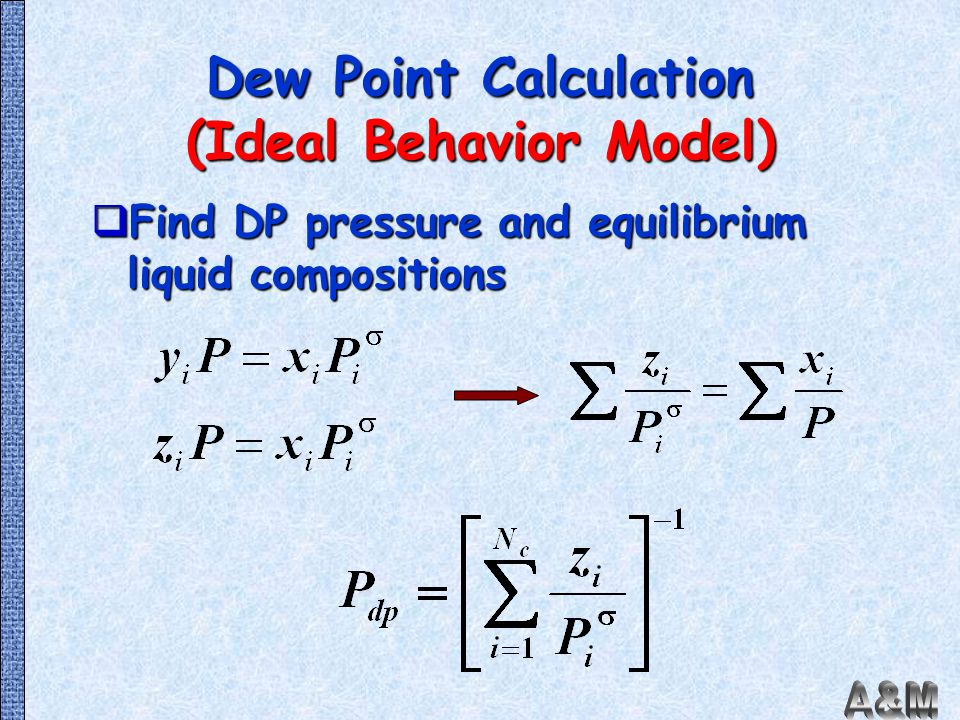 Dew Point Calculation (Ideal Behavior Model)