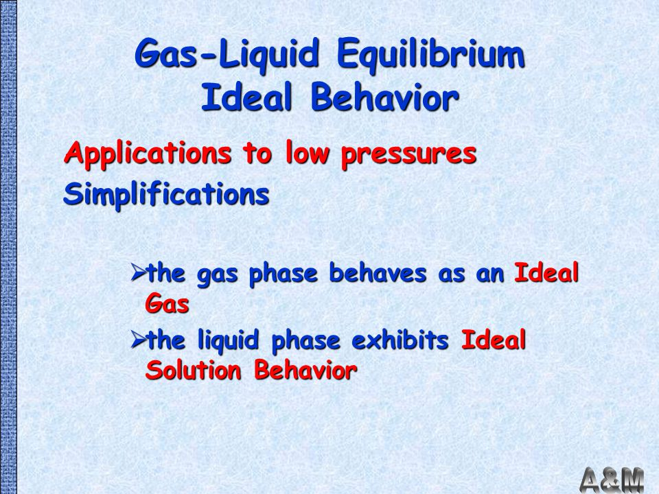 Gas-Liquid Equilibrium Ideal Behavior