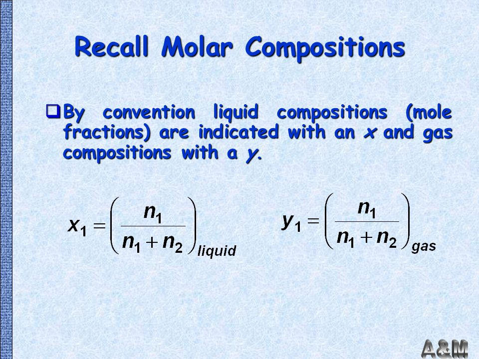 Recall Molar Compositions