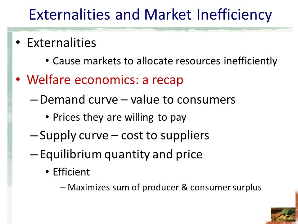what causes market inefficiency View essay - week 52 from econ 210 at franklin university what causes market inefficiency 1 what causes market inefficiency introduction to microeconomics econ210-e1ww june 17, 2017 what causes.