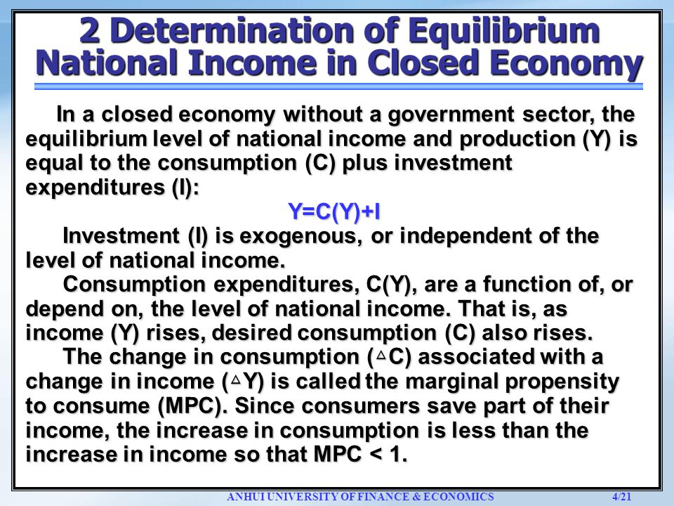 equilibrium level of income for the open economy And income equilibrium in the injections-leakages model what moves the economy to an equilibrium lines is the equilibrium level of.